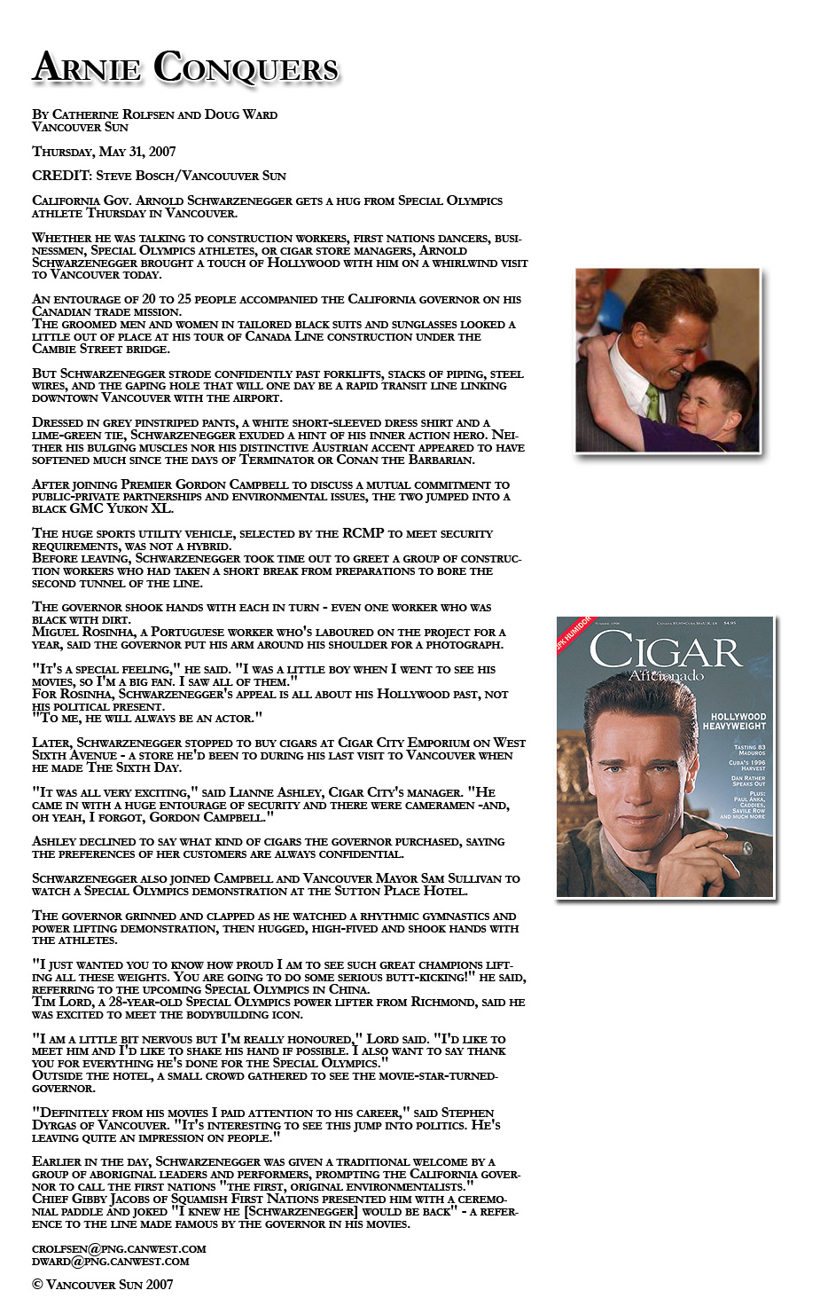 Schwarzenegger article City Cigar